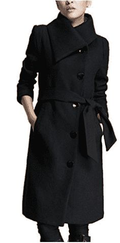 Lingswallow Women's Winter Thicken Long Wool Trench Coat Jacket With Belt (XXXXXL US Black) * Visit the sponsored product link more details. Stylish Winter Coats, Stylish Coat, Winter Coats Women, Coats For Women, Ladies Hooded Coats, Wool Trench Coat, Look Fashion, Fashion Women, Winter Fashion