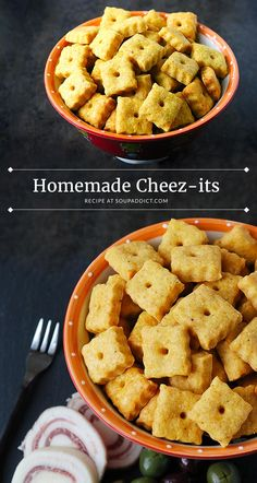 The perfect party snack, game day snack, after school snack, or I-just-need-a-salty-snack snack, homemade Cheez-its cheese crackers are so addictive and cheesy and delicious, you'll want to make a double batch! Recipe at SoupAddict.com.