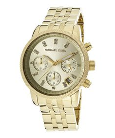 Another great find on #zulily! Gold Crystal Stainless Steel Chronograph Watch by Michael Kors #zulilyfinds