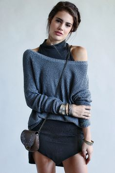 love the layered sweater over the turtle neck. great look.