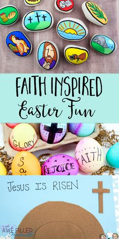 Keeping kids pointed to Christ for Easter is so important. I am sharing 3 crafts about the Resurrection that will be fun, and point to the cross. #Easter #Resurrection #Eggs #DIY #StoryStones via @AFHomemaker