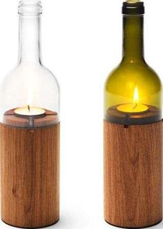 Wine Bottle Tea Light Holders