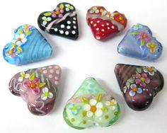 Lampwork hearts made by Johan de Lange