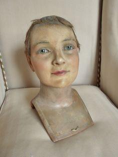 Ancienne Tete Cire Mannequin Vitrine Yeux Verre WAX Head Antique Buste | eBay