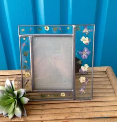 FREE SHIPPING..Vintage Silver Leaded Glass Frame with Pressed Purple Flowers-Pansy-Shabby Chic-Wedding Decor-French Cottage-Bohemian-Garden by ellansrelics02 on Etsy https://www.etsy.com/listing/502337785/free-shippingvintage-silver-leaded-glass