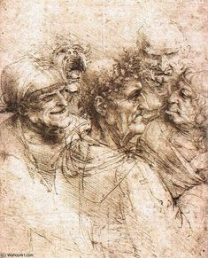 Below is a collection of sketches by Leonardo Da Vinci, he is known as one of the greatest painters of all time. His sketches of anatomy are astonishing and simply the peak of sketching perfection. Life Drawing, Figure Drawing, Painting & Drawing, Drawing Faces, Michelangelo, Trois Crayons, Giuseppe Arcimboldo, High Renaissance, Old Master