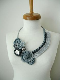 Fiberart Crochet Necklace Two  ways to the mountain  by crochetlab, $48.00
