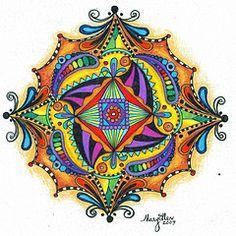 colored Zentangle, LOVE THE BRIGHT COLOR!