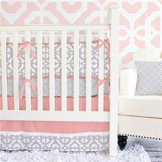 Caden Lane Crib Bedding Set Gray and Coral Mod CADL010