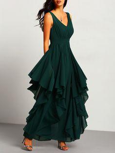 Vestido cuello V maxi gasa -verde-Spanish SheIn(Sheinside)