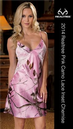 This Realtree® Pink camo chemise features adjustable straps and sheer lace insets at the sides. The Lace Inset Chemise is made of 100% polyester sateen. Machine wash. #Realtreecamo