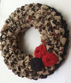 Burlap Wreath, Vintage Inspired Mickey and Minnie Mouse Wreath, Wall Decor