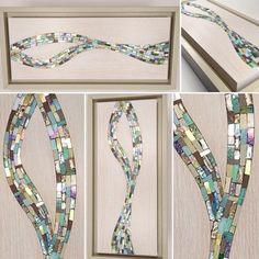Coastal wave art limed oak panel with inlaid mosaic  by NVmosaics