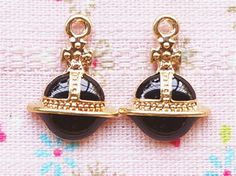 4 Pcs Black Saturn Metal Accessory Charms Charm Pendant Jewelry Making Phone Decoration #A1722