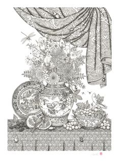 More gorgeous artwork from Patrick Christie. Pen and ink, 27 bugs - 2012. Can you find them all? :)