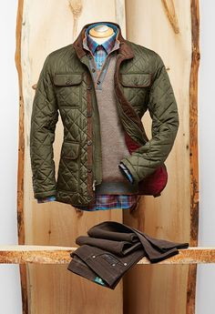 Robert Talbott Quilted Hunting Jacket Wool, Mock Neck Sweater, Check Shirt, and Stretch 5 Pocket Pants