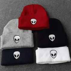 Cheap skullies cap, Buy Quality hats for women directly from China hats for Suppliers: 2016 Autumn Winter Knitting Wool Knitted Hard Hats for women and men Alien Embroidery Dome Black White Grey skullies caps Beanie Outfit, Beanie Hats, Cute Beanies, Cute Hats, Summer Hats, Winter Hats, Black Store, Accesorios Casual, Cool Outfits