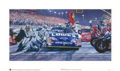 """NASCAR-No. 48 Lowe's Chevrolet Pit Stop - NASCAR-No. 48 Lowe's Chevrolet Pit Stop Framed - 27"""" x 43"""", 2009 piece edition by Sports Memorabilia. $375.75. Along pit road during a late season night race, I captured this image of the No. 48 Lowe's Chevrolet pit crew performing their magic as dusk was falling on the race track."""