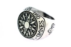Compass Signet Ring-- reads 'Omnes Qui Errant Non Pereunt' which translates from Latin to 'Not All That Wander Are Lost' (J.R.R. Tolkien)
