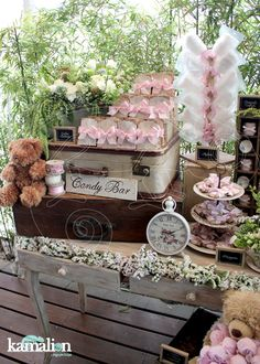 Love the flowers in the drawers Baby Shower Vintage, Vintage Party, Candy Bar Bautizo, Vintage Candy Bars, Rustic Vintage Decor, Candy Bar Wedding, Baptism Party, Candy Table, Dessert Bars