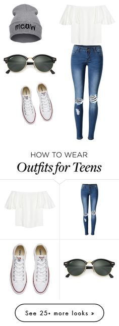 """""""Untitled #343"""" by mapisgp on Polyvore featuring WithChic, Valentino, Converse and Ray-Ban"""