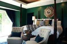 Emerald green bedroom bedroom transitional with white bedding with navy accent pillows white bedding with dark wood bed navy geometric rug in bedroom Green Bedroom Walls, Green Master Bedroom, Dark Wood Bedroom, Green Accent Walls, Accent Wall Bedroom, Green Bedding, Gold Bedroom, Green Rooms, Bedroom Colors
