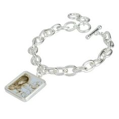 Carousel Dreams Silver Square Vintage Pale Blue Charm Bracelet by MoonDreams Music #carouseldreams #charmbracelet #silver #square #paleblue #vintageinspired #moondreamsmusic