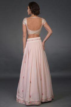 Nude Pink Resham and Gota Patti Hand Embroidered Lehenga Sari Blouse Designs, Bridal Blouse Designs, Lehenga Designs, Designer Dress For Men, Indian Designer Outfits, Designer Dresses, Indian Dresses, Indian Outfits, Navratri Dress