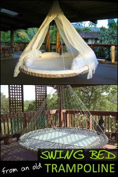 Bed Made From Recycled Trampoline Got a trampoline is wrecked beyond repair? Why not turn it into an awesome swing bed!Got a trampoline is wrecked beyond repair? Why not turn it into an awesome swing bed! Recycled Trampoline, Trampoline Swing, Trampolines, Outdoor Beds, Outdoor Decor, Outdoor Hanging Bed, Outdoor Living, Hippie Bedding, Hanging Beds
