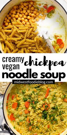 This creamy chickpea noodle soup is the best vegan comfort food - filled with pantry ingredients and warm, cozy flavors that your family will love! Vegan Dinner Recipes, Veggie Recipes, Soup Recipes, Whole Food Recipes, Vegetarian Recipes, Cooking Recipes, Healthy Recipes, Crockpot Recipes, Oven Recipes