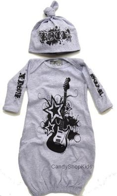 baby boy rockabilly clothes | Rock Star Baby Clothing Grey Rock Set for Newborn Baby Boys - FREE ...