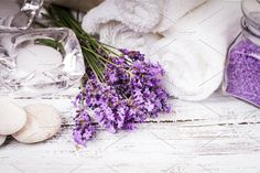 Spa with lavender Photos Lavender spa with rebbles, candles and white towels by oksix Website Images, Perfume, White Towels, Glass Vase, Spa, Candles, Table Decorations, Health, Photos
