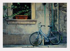 Blue bicycle modern oil painting by JRajtar on Etsy