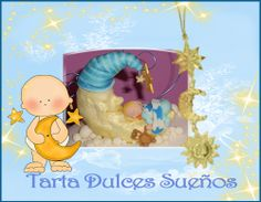 Tarta para bautizo, Dulces sueños. http://ljardindelasdelicias.blogspot.com.es/2013/10/tartas.html