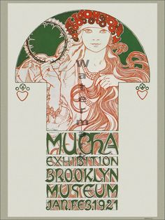 New poster featuring digitally restored & retouched artwork from 1921 poster for a Brooklyn exhibition of Alphonse Mucha's works.