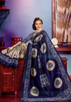 Dark #Blue and Fawn Art Bhagalpuri #SilkSaree with Blouse