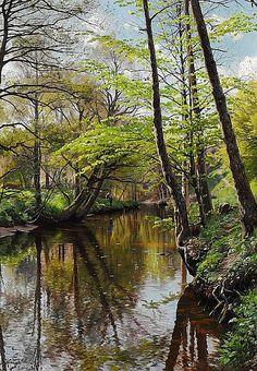 Peder Mønsted: Spring day in the woods.