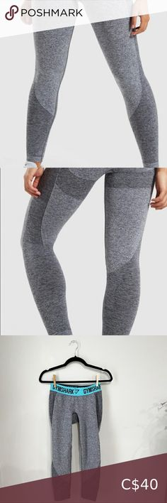 """Gymshark Flex Leggings Charcoal Marl/Pale Blue Hemmed to fit ankle to waist length 30.5"""" Inseam 21.5"""" Seamless knit Sculpting design Elasticated jacquard waistband 56% Nylon, 41% Polyester, 3% Elastane Gently used, excellent condition Gymshark Pants & Jumpsuits Leggings Dark Grey Leggings, Ombre Leggings, Gymshark Flex Leggings, Gymshark Pants, Maternity Bodycon Dresses, Pant Shirt, Seamless Leggings, Sculpting, Jumpsuits"""