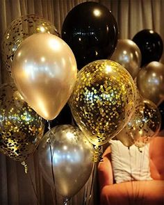 Gold Black Latex Balloons - Latex Balloons Mix Clear Confetti Balloons Gold Party Decorations(Pack of - Gold and Black Balloons for Masquerade Great Gatsby Party, Hollywood, – Samantha Peach Masquerade - Masquerade Party Decorations, Masquerade Ball Party, Birthday Party Decorations, Birthday Party Invitations, Masquerade Masks, Birthday Event Ideas, Great Gatsby Party Decorations, Black And Gold Party Decorations, Venetian Masquerade