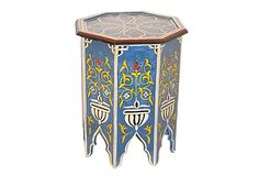 Marrakesh Side Table, Sky Blue/Multi on OneKingsLane.com  Wunderley brings the rarefied bygone glamour of Moorish culture to the modern-day home. The Moors generated a magnificent aesthetic medley of Islamic art and other influences from Marrakech and Damascus, crossroads into Africa, Arabia, and Europe. That cultural spirit is pervasive in Wunderley's sophisticated, artisanal pieces.