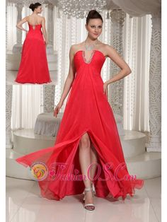 High Slit Coral Red V-neck Long Prom Dress With Chiffon  http://www.fashionos.com/  http://www.facebook.com/quinceaneradress.fashionos.us   It has a V-neck design that features shimmery beads. The bust was ruched and show off your feminine beauty. The floor-length skirt dropping from the under bust is slit, which flatters your pretty legs and achieve a flirty feeling. The dress moves beautifully with you when you walk. A hidden zipper closure finishes the look.