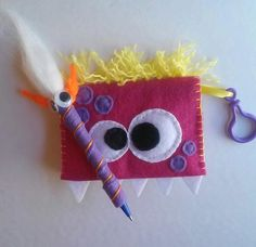 Felt Pink Monster Notebook and Pen Set by CurlyTailCrafts on Etsy