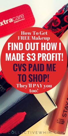 Does FREE makeup sound good to you? To find out how I made a profit of $3 on my makeup purchase watch the video! CVS actually PAID me to take makeup products off their shelves! Cheap makeup, free makeup, drugstore makeup, makeup deals, CVS makeup. Cvs coupons, coupons, save money, free stuff.