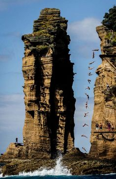 Red Bull cliff diving - Azores, Portugal  http://www.redbull.com/cs/Satellite/en_INT/Red-Bull-Cliff-Diving/001243156279621