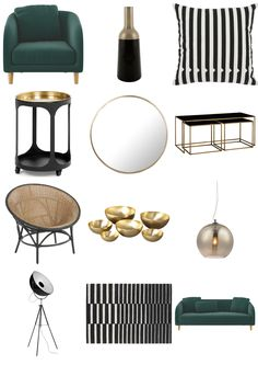 Emerald Green, Gold and Black - Furnishful's Living Room Ideas - Inspiration Boards. Green and gold living room inspiration. View the Emerald Green, Gold and Black Inspiration Board by Furnishful for great Living Room Ideas Black And Gold Living Room, Living Room Green, Bedroom Green, Green Rooms, My Living Room, Art Deco Living Room, Living Room Interior, Living Room Furniture, Living Room Designs