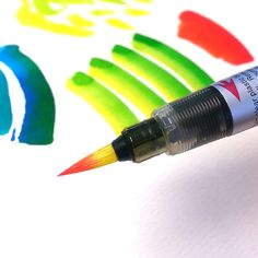 Pentel Color Brushes are excellent for creating lovely gradients in your calligraphy or artwork. Just squeeze a little ink from one Color Brush onto a palate then pick up a little ink on the tip of the colour you want to finish with.