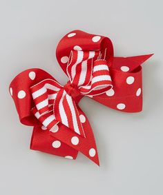 This Red Polka Dot Layered Bow by Picture Perfect Hair Bows is perfect! #zulilyfinds