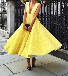 Yellow Prom Dress,Deep V Neck Prom Dress,A Line