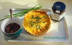 Feta Red Onion Marmalade Quiche - all butter pastry encases salty feta cheese over a layer of red onion marmalade, cooked in a chive spiked egg custard.