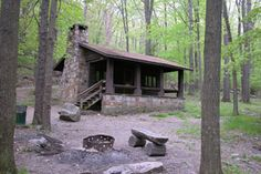 This stone house is a rustic cabin which is available for rent at Linn Run State Park, Pennsylvania.